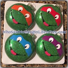 diy mutant turtles glass glitter ornaments