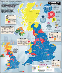Map Of England And Scotland by General Election Results Saw England Turned Blue Scotland Yellow