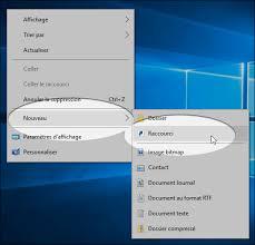 mettre un raccourci sur le bureau windows 10 créer un raccourci pour arrêter ou émarrer le système