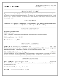 sample of resume with experience resume phlebotomist resume