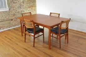 Teak Dining Room Furniture Pretty Teak Dining Table With 4 Teak Dining Chairs White Cushions