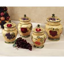 kitchen 4 piece ceramic mason jar canister set with flour sugar
