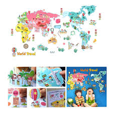 wall sticker cute colorful world travel map sticker educational