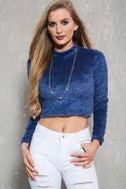 crop top sweater slate blue sleeve fuzzy casual sweater crop top