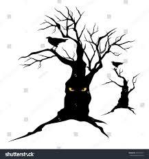 halloween trees black raven sitting on creepy halloween stock vector 455270797