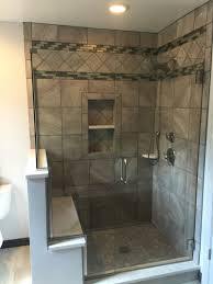 durango silver tile shower in stacked and diagonal patterns with