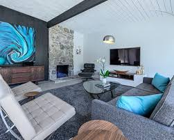 grey carpet color for modern living room ideas with blue abstract