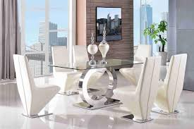 channel glass dining set with rita ivory chairs