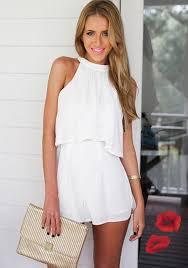 casual jumpsuits white plain ruffle casual slim dacron jumpsuit shorts
