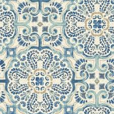 Tile Wallpaper Nuwallpaper 30 8 Sq Ft Blue Florentine Tile Peel And Stick