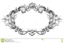vintage baroque frame border monogram floral ornament