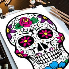 instant download sugar skull coloring in three page set u2013 sugar