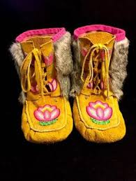 rabbit fur mukluks made by a tlicho from northwest territories