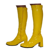 s yellow boots knee high boots yellow 60s 70s fashion boots size 11 uk