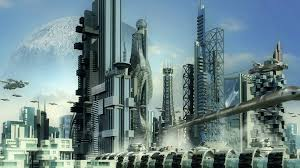 alien planet or moon colony with flying spaceship pods hovering