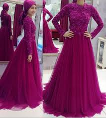 muslim prom dresses 2016 high neck long sleeves lace appliques