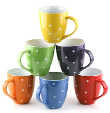 set of 6 large sized 16 ounce ceramic coffee mugs polka dot by