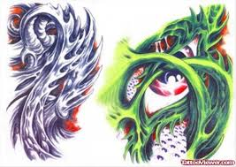 awesome colored biomechanical tattoo design tattoo viewer com