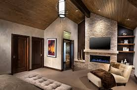 view in gallery tv above the fireplace idea for the contemporary bedroom