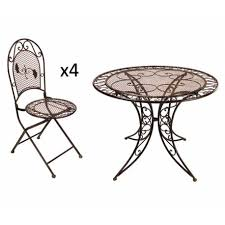 chaises pliables grand salon de jardin 4 places 1 table ronde ø100cm 4 chaises