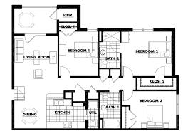3 bedroom apartment floor plans plain design floor plan example 1