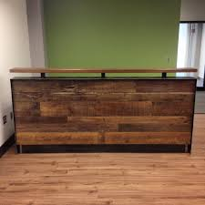 Reception Desk Wood Reclaimed Wood Steel Reception Desk