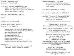 program for a memorial service memorial service