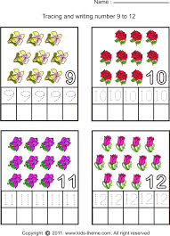 writing number 9 to 12 worksheets