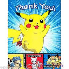 pokemon pikachu 8 thank you cards notes kids birthday party