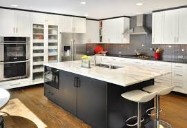 kitchen sleek modern electric stove on granite countertop and