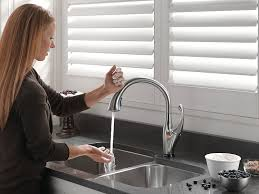 Touch Activated Kitchen Faucets Touch Activated Kitchen Faucet Delta Pilar Pull With