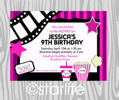birthday party invitation girls pink movie theme night