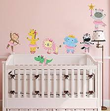 Safari Nursery Wall Decals Jungle Ballerina Animal Wall Decal Baby