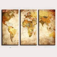 Vintage World Map by 3 Panel Vintage World Map Canvas Painting Oil Painting Print On