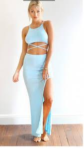 new 2014 summer fashion split two pieces crop maxi dress slit