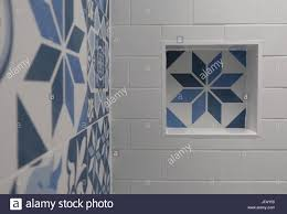 Blue And White Bathroom Tile White Bathroom With Blue And White Patchwork Tiles With Niche