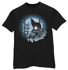 lone wolf howling at the moon t shirt