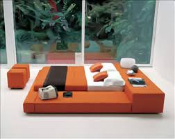 White Bedroom Ottoman Furniture Square Orange Leather Bed Frames With Table Hedaboard