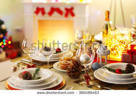 Christmas Decoration Table Settings by Christmas New Year Holiday Table Setting Stock Photo 162241982