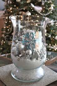 Christmas Hurricane Centerpiece - christmas hurricane glass centerpiece with bag of fake snow