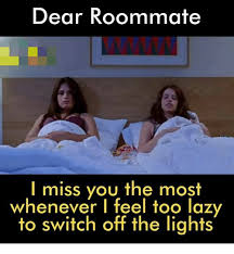 Roommate Memes - dear roommate i miss you the most whenever i feel too lazy to switch