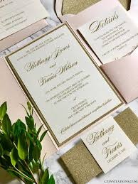 blush and gold wedding invitations blush and gold glitter pocket wedding invitations with glitter