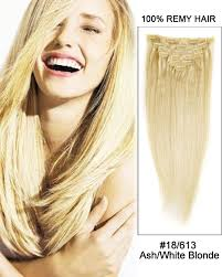 white hair extensions 22 18 613 ash white 9pcs remy human hair clip in