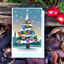 owl christmas card owl holiday card owl christmas tree u2013 pickle