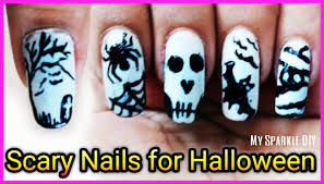 5 scary black u0026 white nail art for halloween toothpick no