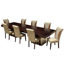 wood large rustic dining table with leather parson chairs
