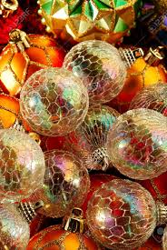 baubles iridescent tree ornaments reflecting