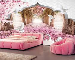 cherry blossom bedroom custom photo wallpaper custom 3d stereo cherry blossom wallpaper