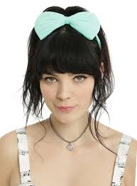 bow headbands blackheart mint black large bow headband 2 pack hot topic