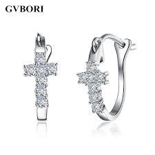 hoop diamond earrings cross 0 2carat diamond earrings cross hoop earrings jewelry